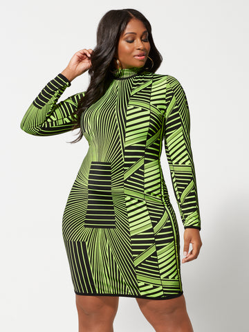 Enya Geometric Neon Bodycon Dress in Twisted Lime