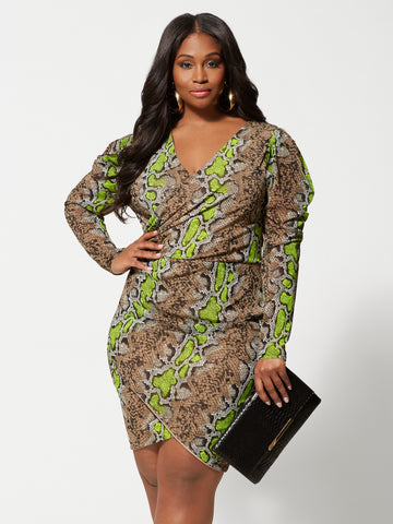 Dita Snake Print Bodycon Dress in Twisted Lime