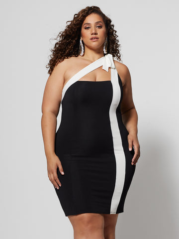 Nalani Colorblock Bodycon Dress in Black