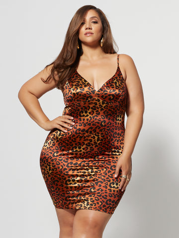 Marita Satin Leopard Print Dress in Brown