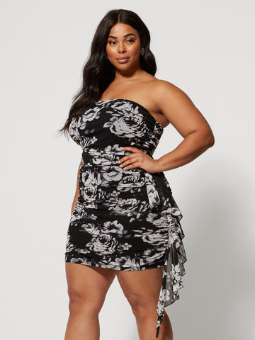 Camilla Strapless Floral Dress in Black