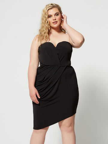 Marcie Strapless Drape Detail Dress in Black