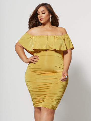 Paloma Ruffle Detail Bodycon Dress in Mustard Yellow