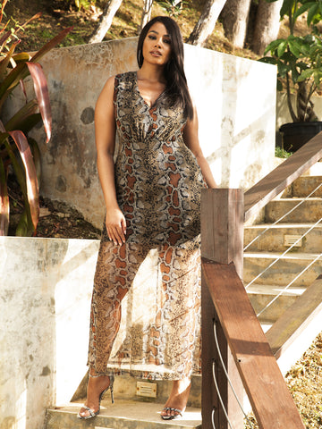 Paola Animal Print Mesh Maxi Dress in Brown