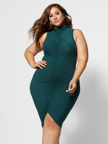 Fabiola Mockneck Ruched Dress in Dark Green