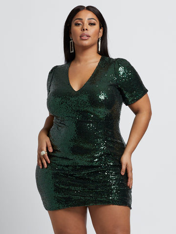 Cerise Sequin Ruched Dress in Green