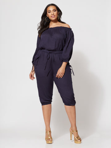 Jenny Off-Shoulder Utility Jumpsuit in Navy
