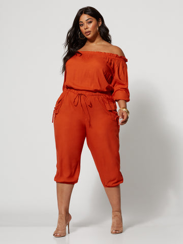 Jenny Off-Shoulder Utility Jumpsuit in Rust