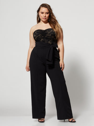 Beverley Lace Bodice Jumpsuit in Black