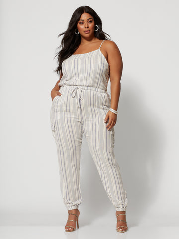 Valarie Cargo Pocket Jumpsuit in White