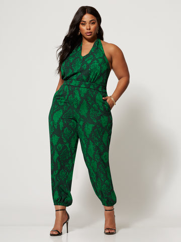 Alana Emerald Snake Print Jumpsuit in Green