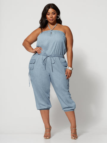 Giselle Denim Cargo Jumpsuit in Light Blue