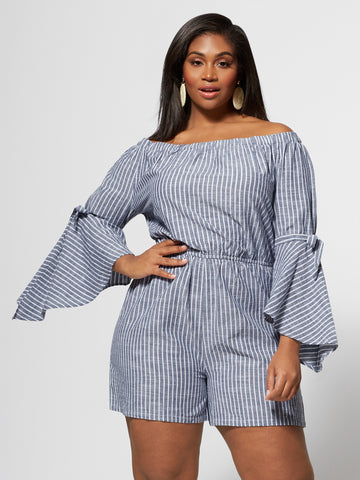 Kaylee Off Shoulder Bell Sleeve Romper in Blue