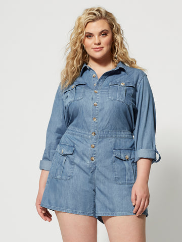 Maresa Denim Utility Romper in Light Wash