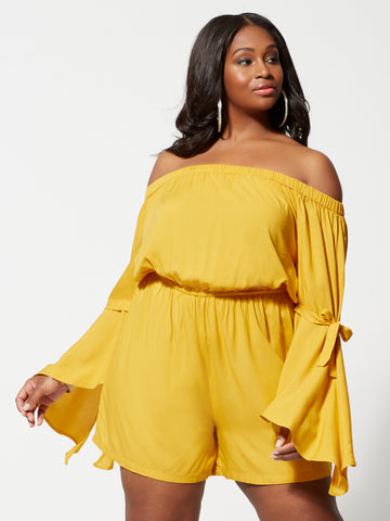 Edaline Off Shoulder Romper in Mustard Yellow