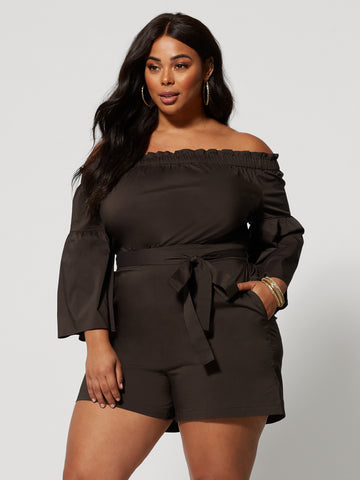 Latoya Off Shoulder Romper in Luxe Brown