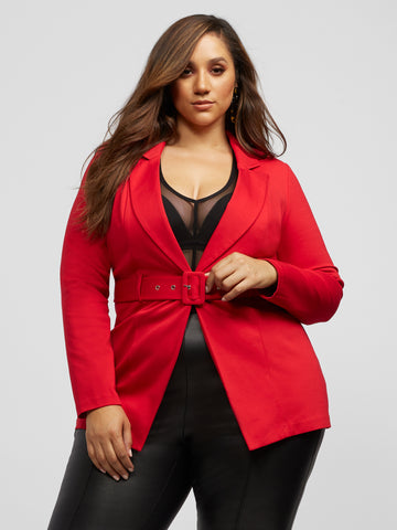 Harmony Long Belted Blazer in Red