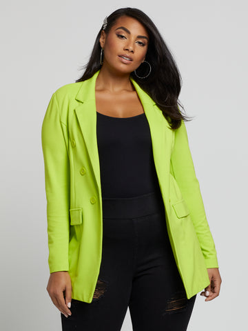 Sera Button Detail Blazer in Twisted Lime