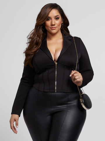 Mae Zip-Front Corset Blazer in Black