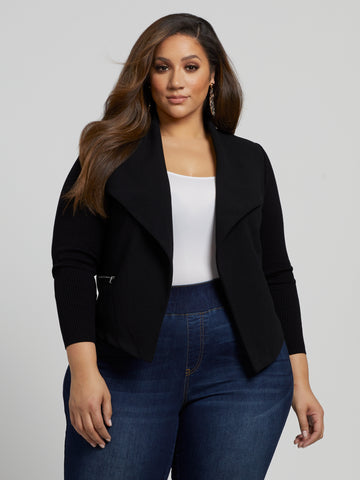 Serena Sweater Sleeve Blazer in Black