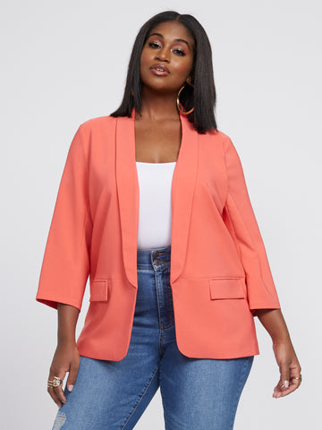 Kira Open Front Soft Blazer in Flamingo
