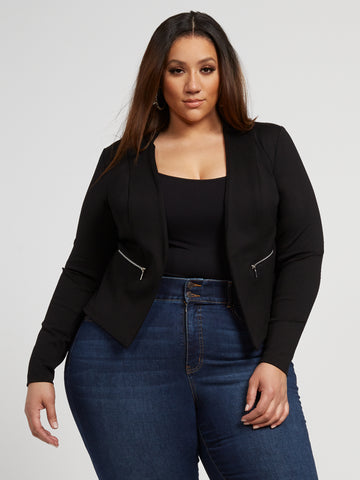 Octavia Zipper Detail Ponte Knit Blazer in Black
