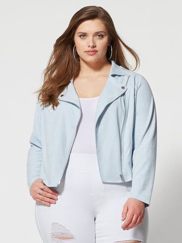 Skye Faux Suede Moto Jacket in Light Blue