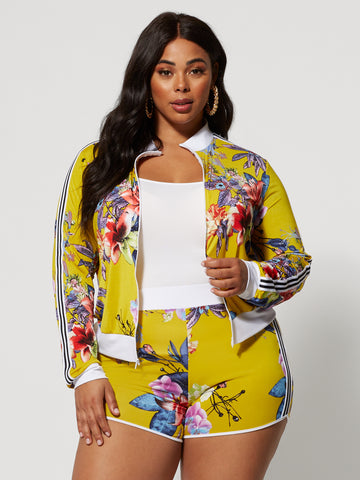 Ilanna Floral Track Bomber in Yellow