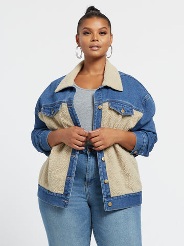 Clara Denim & Sherpa Trucker Jacket in Medium Indigo