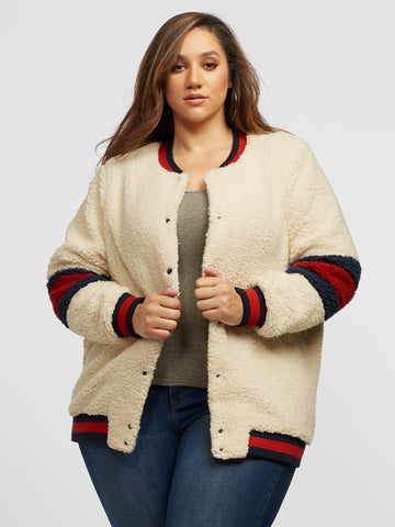 Melissa Varsity Bomber Jacket in Natural