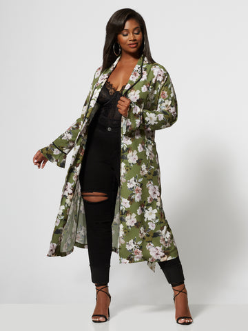 Marlowe Floral Duster Jacket in Olive