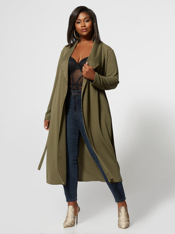 Monique Belted Duster in Olive