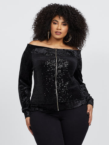 Eve Off Shoulder Sequin Bomber Jacket in Black
