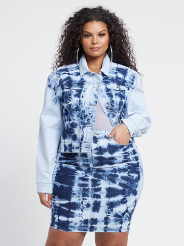 Meilani Tie Dye Trucker Jacket in Blue