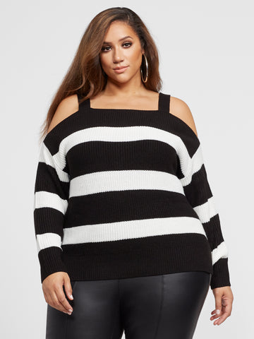 Sophie Striped Cold Shoulder Sweater in Black/White