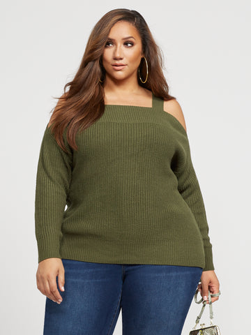 Tana Cold Shoulder Sweater in Green
