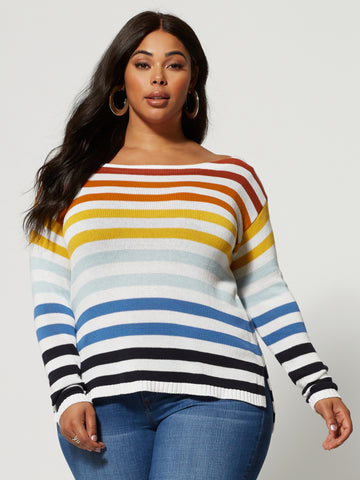 Maycee Rainbow Striped Sweater in Ivory