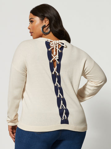 Maelie Lace-Up Back Sweater in Ivory