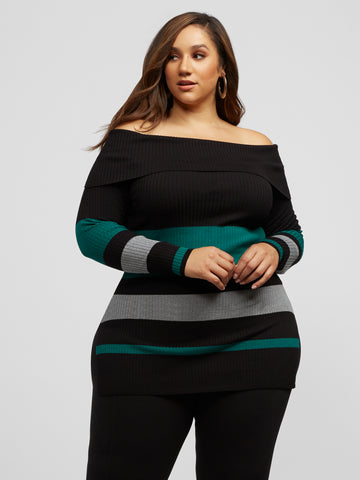 Rowan Off Shoulder Stripe Sweater in Dark Green