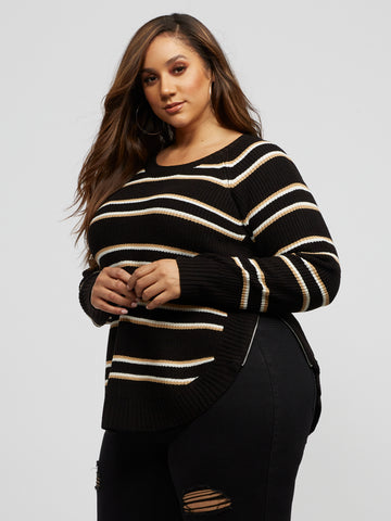 Franki Stripe Side-Zip Sweater in Black