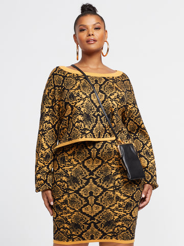 Yvonne Snake Print Sweater in Mustard Yellow