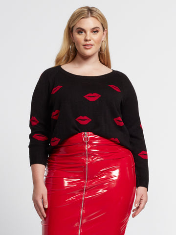 Cherri Lip Print Sweater in Black