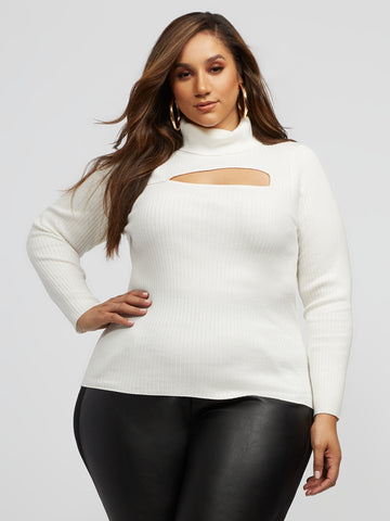 Reign Cut-Out Turtleneck Sweater in Ivory