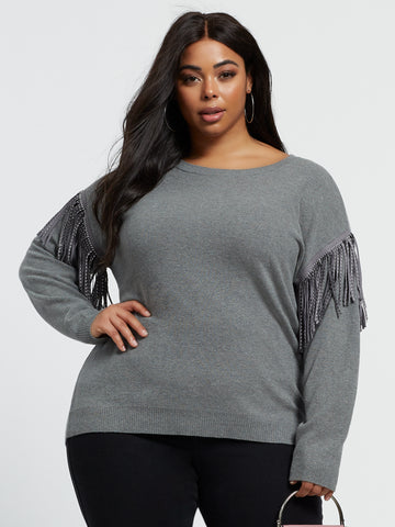 Rachel Fringe Sleeve Pullover Sweater in Grey