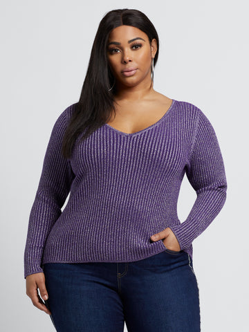 Maddie Shimmer Sweater in Purple