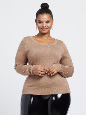 Goldie Rhinestone Pullover Sweater in Nude