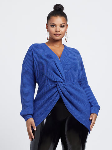 Amanda Knot Detail Pullover Sweater in Royal Blue