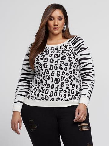 Annie Animal Print Sweater in White