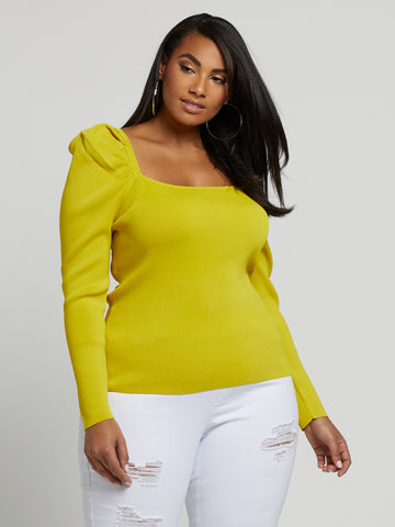 Larisa Puff Sleeve Sweater in Brilliant Chartreuse