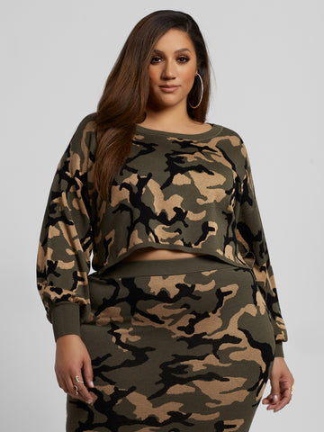 Jami Camo Sweater in Olive